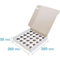Коробка (260 х 260 х 50), белая, на 25 кексов