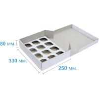Коробка (330 х 250 х 80), белая, на 12 кексов