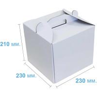 Коробка (230 х 230 х 210), белая, для тортов