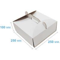 Коробка (250 х 250 х 100), белая, для тортов