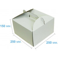Коробка (250 х 250 х 150), белая, для тортов