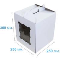 Коробка (250 х 250 х 300), белая, с окошком, для тортов