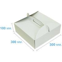 Коробка (300 х 300 х 100), белая, для тортов