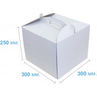 Коробка (300 х 300 х 250), белая, для тортов
