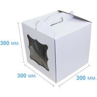 Коробка (300 х 300 х 300), белая, с окошком, для тортов