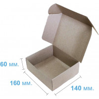 Коробка (160 x 140 x 60), бурая, 2-х слойная, подарочная