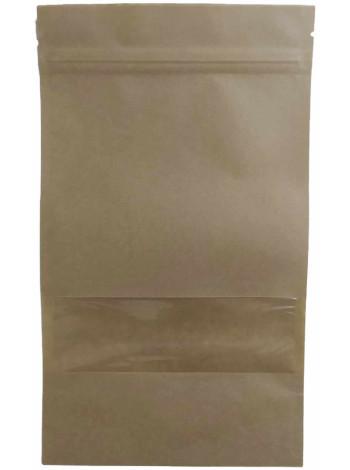 Крафт-пакет Дой-пак с прямоугольным окошком  140*240 дно (40+40) с застежкой Zip