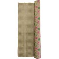 Гофробумага бурая фламинго / зеленые квадраты (5 м. х 0,75м; 75гр./м2.)