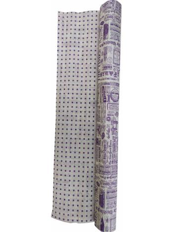"""Гофробумага белая """"Газета, фиолетовый"""" (5 м. х 0,75м; 75гр./м2.)"""