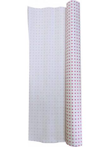 Гофробумага белая, малиновый горошек (5 м. х 0,75м; 75гр./м2.)