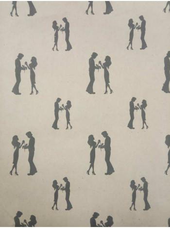 """Упаковочная бумага, крафт, """"Пара любленных"""" (10 м. х 1,05 м., 80 гр./м2)"""