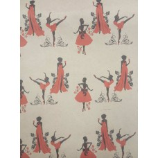 """Упаковочная бумага, крафт, """"Танцовщица"""" (10 м. х 1,05 м., 80 гр./м2)"""