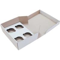 Коробка (250 х 170 х 80), белая, на 4 кекса