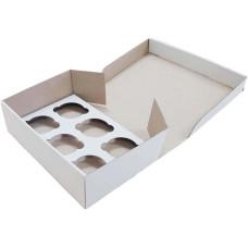 Коробка (250 х 170 х 80), белая, на 6 кексов