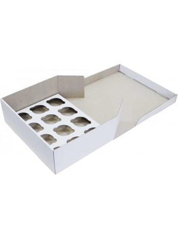 Коробка (330 х 250 х 110), белая, на 12 кексов