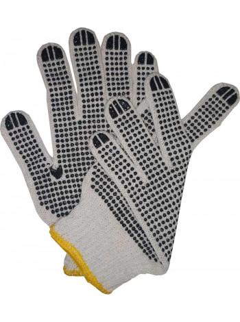 Перчатки с ПВХ точкой плотные двухсторонние