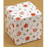 Коробка (100 х 100 х 100), подарочная, Рождество