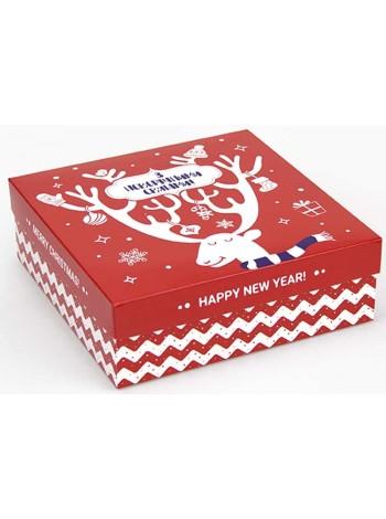 Коробка (180 х 180 х 60), подарочная, З Новорічними святами!