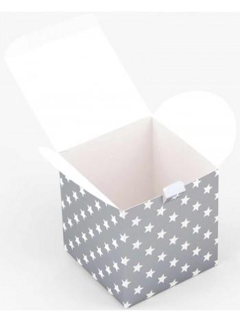 Коробка (100 х 100 х 100), подарочная, Звезды на серебре