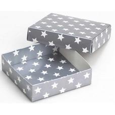 Коробка (090 х 90 х 25), подарочная, Звезды на серебре