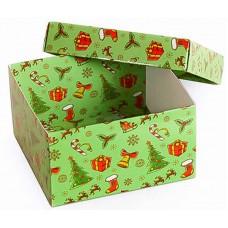 Коробка (090 х 90 х 50), подарочная, новогодняя