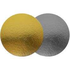 Подложка для торта круглая (диаметр 090 мм., золото / серебро)