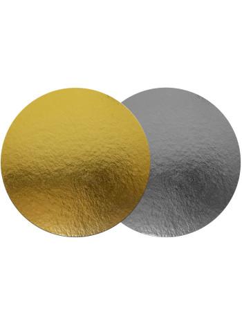 Подложка для торта круглая (диаметр 120 мм., золото / серебро)