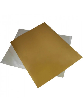 Подложка для торта квадратная (390х390 мм., золото / серебро)