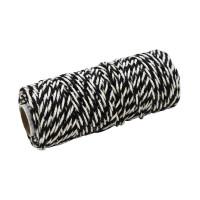 Шнур джут-хлопок чорный-белый, 50 метров