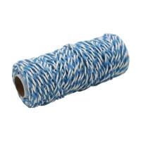 Шнур джут-хлопок голубой-белый, 50 метров