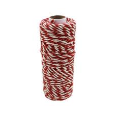 Шнур джут-хлопок красный-белый, 50 метров
