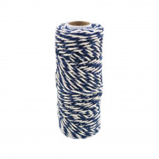 Шнур джут-хлопок синий-белый, 50 метров