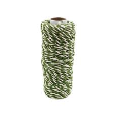 Шнур джут-хлопок зеленый-белый, 50 метров