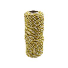 Шнур джут-хлопок желтый-белый, 50 метров