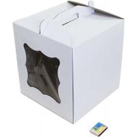 Коробка (280 х 280 х 300), белая, с окошком, для тортов