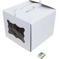 Коробка (300 х 300 х 250), белая, с окошком, для тортов