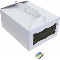 Коробка (410 х 310 х 180), белая, с окошком, для тортов