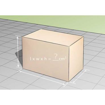 Розрахунок об'єм у коробок з прямокутними формами.