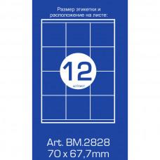 Этикетки самоклеящиеся (12 шт. на листе, 70 мм. х 67.7 мм., 100 л. в упак.)